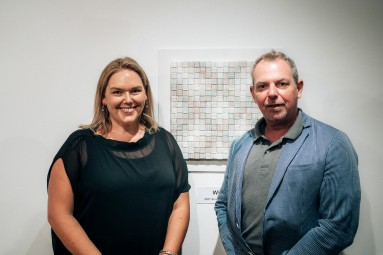 Jennifer Tweed from Perpetual Guardian and Hamish Coney Selector with Volker Hawighorsts Prize Winning work